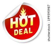 hot deal sticker badge with... | Shutterstock .eps vector #199595987