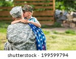 military man father hugs son.... | Shutterstock . vector #199599794
