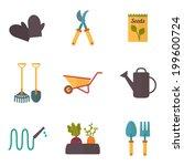 gardening tools  garden icons... | Shutterstock .eps vector #199600724