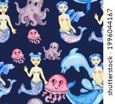 Dark Blue Background  Mermaids  ...