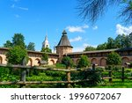 Suzdal, Russia. Spaso-Evfimiev monastery - Male monastery. Wall with towers