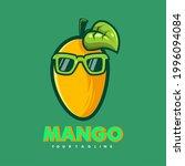 mango wearing glasses cartoon... | Shutterstock .eps vector #1996094084