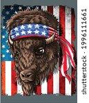 Buffalo American Flag Western...