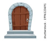 stone arch with wooden door ...