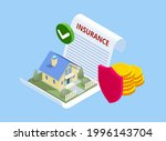 isometric house insurance... | Shutterstock .eps vector #1996143704