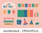 birthday scrapbook design set.... | Shutterstock .eps vector #1996145111