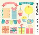birthday scrapbook design set.... | Shutterstock .eps vector #1996145264