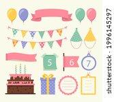 birthday scrapbook design set.... | Shutterstock .eps vector #1996145297