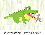 cute crocodile and mouse animal ... | Shutterstock .eps vector #1996157027