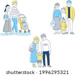 3 sets of young families   Shutterstock .eps vector #1996295321
