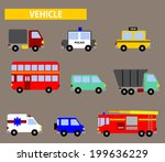 flat vector vehicle icon   Shutterstock .eps vector #199636229