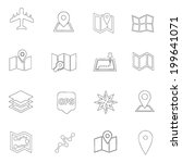 map and location icons line... | Shutterstock .eps vector #199641071