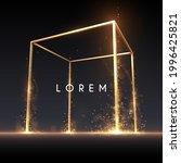 golden cube frame with light... | Shutterstock .eps vector #1996425821