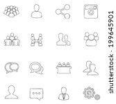 social icons thin line  drawing ... | Shutterstock .eps vector #199645901