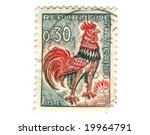 Old french stamp with Chicken - stock photo