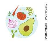 guacamole ingredients set. flat ...   Shutterstock .eps vector #1996492817