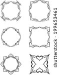 set of vintage heart frames | Shutterstock .eps vector #199653461