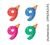 9 year birthday candle flat... | Shutterstock .eps vector #1996542191