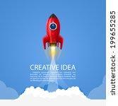 space rocket launch  rocket... | Shutterstock .eps vector #199655285