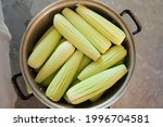 Small photo of traditional mexican corn in the cob ready to be boiled in a stockpot