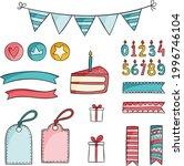 birthday scrapbook design set.... | Shutterstock .eps vector #1996746104
