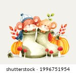 Watercolor Vector Mouse In Boot ...