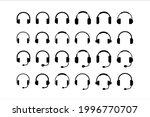 headphones icon set. earphone...   Shutterstock .eps vector #1996770707