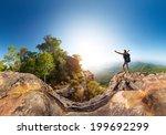 hiker standing on top of the... | Shutterstock . vector #199692299