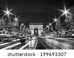black and white paris  evening... | Shutterstock . vector #199693307