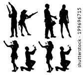 vector silhouette of people who ... | Shutterstock .eps vector #199696715