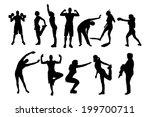 vector silhouette of people in... | Shutterstock .eps vector #199700711