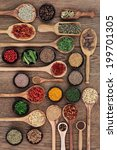 large spice and herb selection... | Shutterstock . vector #199701305