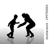 vector silhouette of family on... | Shutterstock .eps vector #199702001