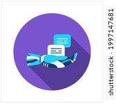 voice to text flat icon. robot...