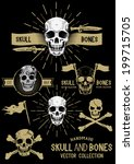 vector pirate skull and bones... | Shutterstock .eps vector #199715705