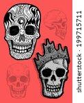 vector pirate skull and bones...   Shutterstock .eps vector #199715711
