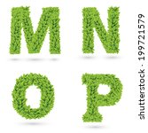 letters of green leaves... | Shutterstock .eps vector #199721579