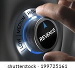 finger turning a revenue button ... | Shutterstock . vector #199725161