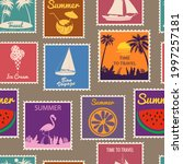 postage stamps seamless pattern ... | Shutterstock .eps vector #1997257181