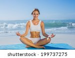 fit smiling woman sitting in... | Shutterstock . vector #199737275
