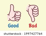 good and bad hand sign   vector ... | Shutterstock .eps vector #1997427764