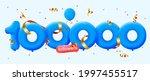 100000 followers thank you 3d...   Shutterstock .eps vector #1997455517