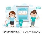 children talk about braces... | Shutterstock .eps vector #1997463647