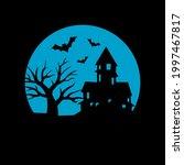 horror bat home and dark moon... | Shutterstock .eps vector #1997467817