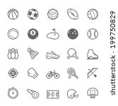 Set of Outline stroke Sport icons Vector illustration