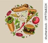 delicious hand drawn vector... | Shutterstock .eps vector #1997568224
