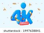 4k followers thank you 3d blue...   Shutterstock .eps vector #1997638841