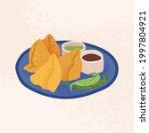 Samosa With Sauces And Chili...