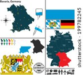 Vector map of state Bavaria with coat of arms and location on Germany map