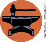 a hammer and anvil iconic... | Shutterstock .eps vector #199783037
